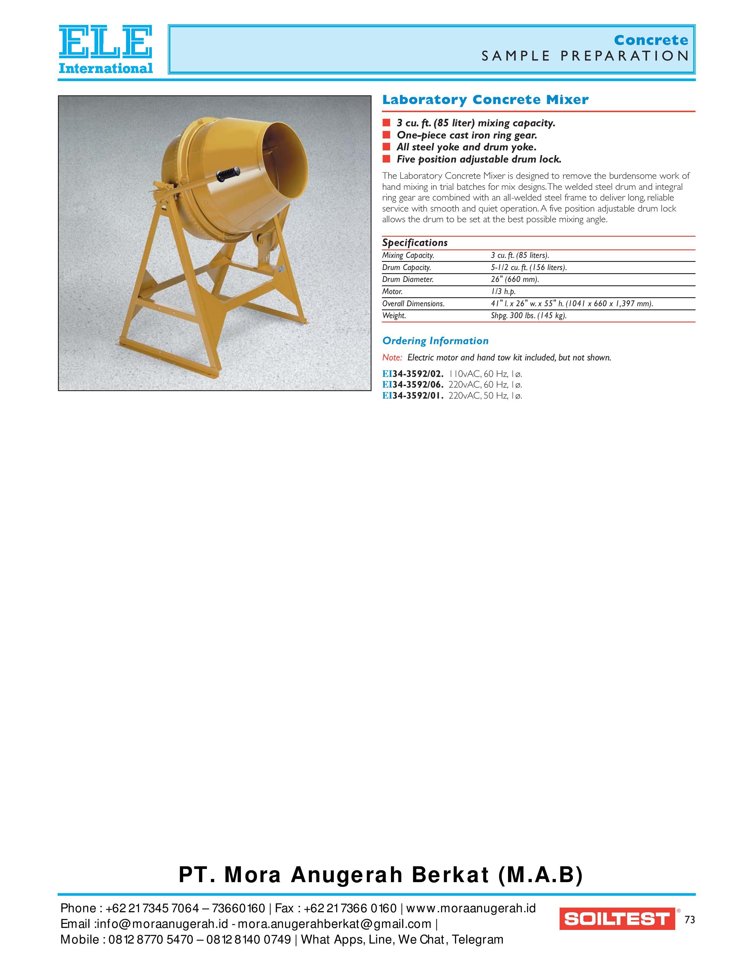Concrete Testing Equipment Product - Ele Internasional | Supplier